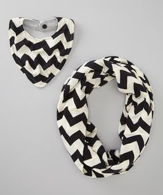 Take a look at this Toddah Black Zigzag Mommy & Me Scarf & Bib Set on zulily today!
