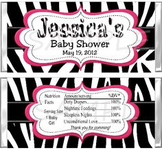 Zebra Print Pink or Blue Deco Baby Shower by SweetOccasionFavors, $8.99