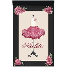JAdore Fleurs Tutu Wall Hanging from PoshTots **cg** Personalized for the little girl in your family