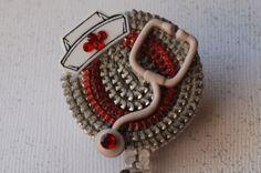 Calling All Nurses Vintage Zipper ID Badge Reel by ZipperedHeart, $12.00