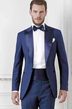 Wedding Suit Peaked Lapel One Button 2 Pieces (Jacket Pants) Blue Swallow mens suit Slim Fit men wedding suits Tailed Made terno masculino Groom Tuxedo Wedding, Wedding Suits, Wedding Dress, Wedding Tuxedos, Wedding Men, Blue Wedding, Navy Blue Prom Suits, Dress Suits, Men Dress