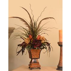 Silk Arrangements For Home Decor colorful tulips large silk floral centerpiece ar260 Autumn Floral Home Decor Pheasant Feather Floral Design With Natural Accents
