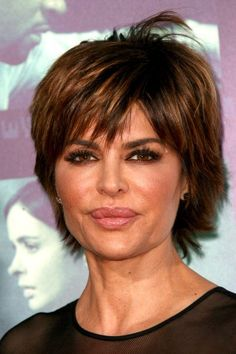 Lisa Rinna short hairstyle with flicks. Like the her hair color in this pic. I'll definitely try her short styles as I get older!