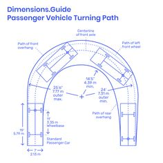 The turning path of a passenger vehicle measures the minimum possible turning radius for u-turns. Measuring the inner and outer radii of the turn, a minimum inner radius of Car Park Design, Ramp Design, Parking Design, Parking Plan, Parking Building, Car Parking, Architecture Symbols, Architecture Details, Circle Driveway