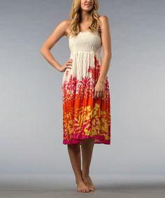 border print Strapless Floral Dress 0c300310f