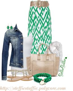 Green Gold with Denim Discover and shop the latest women fashion, celebrity, street style you love on https://www.zkkoo.com