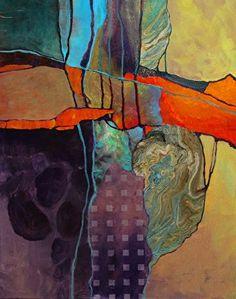 Orange Matrix, 062417 by Carol Nelson mixed media ~ 20 inches x 16 inches