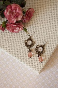 Vintage Victorian Chandelier Earrings with Floral Pattern ——————– Victorian Chandelier, Chandelier Earrings, Victorian Fashion, Bridesmaid Gifts, Dangles, Shabby Chic, Jewelry Making, Romantic, Lace Tops