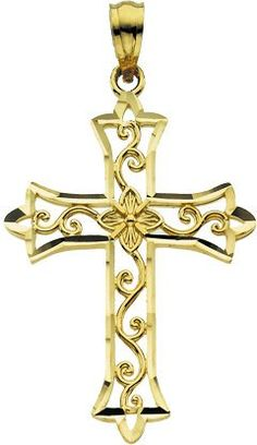 Amazon.com: 14K Yellow Gold Cross Pendant 30mm x 20mm (Yellow Gold): Jewelry