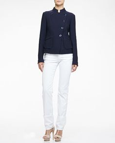 Asymmetric Geometric Jacquard Jacket, Stretch Jersey Tank & Brushed Cotton 5-Pocket Slim Fit Jeans by Armani Collezioni at Bergdorf Goodman.