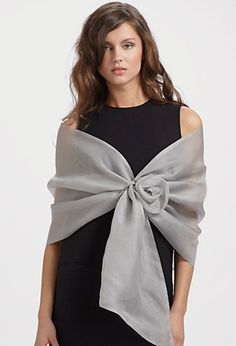 Stylist Advice- What to wear to a black tie optional event with the boss? Try an evening wrap!
