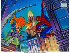 Spider-Man The Hobgoblin and Spidey Limited Edition Seri-Litho Cel (Marvel, Nineteen years ago, Marvel - Available at Sunday Internet Comics Auction. Marvel Cartoons, Marvel Comics, Spectacular Spider Man, Hobgoblin, Spiderman, Auction, Animation, Pictures, Image