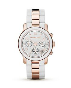 Michael Michael Kors Round White & Rose Gold Tone Watch, 39mm | Bloomingdale's