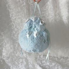 Blue plush pompadour purse evening handbag wristlet drawstring reticule by AlicesLittleRabbit on Etsy
