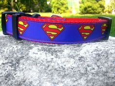 Blue Man Of Steel 1 Inch Width Dog Collar by WillyWoofs on Etsy, $17.00