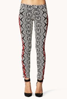 Tribal Print Embroidered Skinny Jeans | FOREVER21 - 2054776527 $23