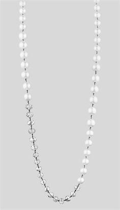 Dyrberg/Kern - Darlina - Lang lys perlehalskæde med krystaller