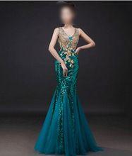 2016 robe de soirée longue conception à double - épaule poissons mince queue de…