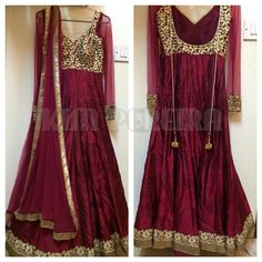 A Wine Colour Anarkali Dress with Net Dupatta and by KimPereiraF, $295.00