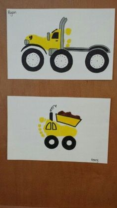 Footprint truck art craft for kids