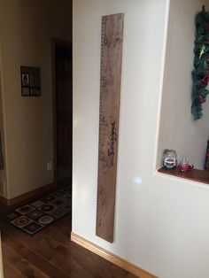 Custom Finished and Painted Wood Wall Family Growth Chart.  At just $50 for this custom piece order one today at Ginger Hawk Customs Custom Creations, Wood, Custom Finishes, Wood Wall, Home, Painting On Wood, Wall, Home Decor