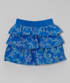 Love this Electric Blue Floral Ruffle Skirt - Girls on #zulily! #zulilyfinds