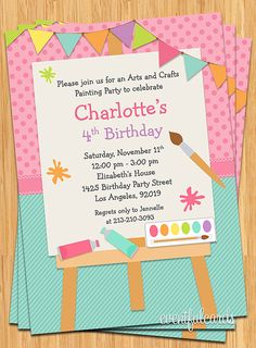 Art Painting Birthday Party Invitation for Kids  by eventfulcards, $15.99
