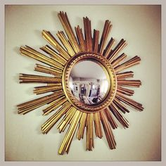 Large Sunburst Mirror 1950's from Belgium with convex glass – Decorative Antiques UK
