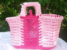 Einkaufstaschen - Shopper aus Kunststoff mit Textilgarn  - ein Designerstück von Pfefferkuchenmadel bei DaWanda