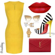 A fashion look from March 2016 by visualxtasy featuring Christian Louboutin, Yves Saint Laurent, Versace, Allurez and Dita