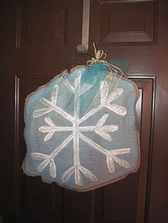Burlap snowflake - so cute on the front door!