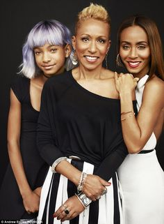 Touching: Jada Pinkett Smith, right, poses with daughter Willow, left, and her mother Adrienne Banfield Jones, who battled drug addiction to...