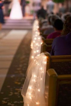 Tulle and String Lights Aisle Decorations wedding diy 21 Stunning Church Wedding Aisle Decoration Ideas to Steal - WeddingInclude Wedding Church Aisle, Wedding Pews, Wedding Isles, Wedding Aisle Decorations, Decor Wedding, Church Decorations, Rustic Church Wedding, Church Weddings, Wedding Arches