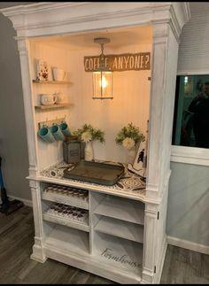 Coffee Nook, Coffee Bar Home, Coffee Bars, Repurposed Furniture, Custom Furniture, Cool Furniture, Armoire Redo, Armoire Bar, Decoration