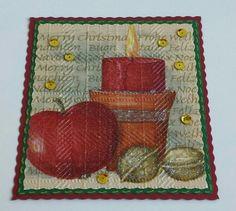 Christmas,  Kerzen, Serviettentechnik, Embossing-Folder