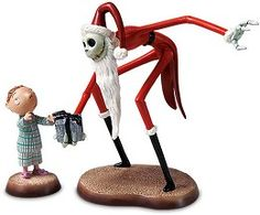 *JACK SKELLINGTON ~ WDCC Disney Classics The Nightmare Before Christmas Santa Jack And Timmy A Ghoulish Gift #WDCCDisneyClassics #Art. Jack Skellington's Arms & Legs: Pewter.  Santa Jack & Timmy sold as a set.  Limited to Production Year 2005.  Bow on present from Jack to Timmy is in the shape of bat's wings.  Like in prior years, there will be a special backstamp version of the new Tim Burton's The Nightmare Before Christmas introduction of Santa Jack with Timmy.