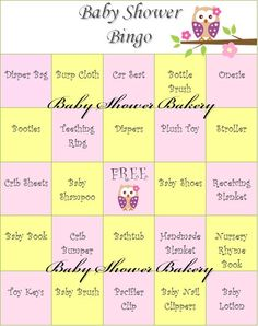 Girl Owl Baby Shower Game, Owl Baby Shower Bingo, Owl Theme Baby Shower Game, Instant Download Baby Shower, Printable Baby Bingo on Etsy, $15.00