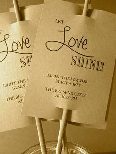 Let Love Shine/ Sparkler Sendoff Tags/ by LollipopsAndPussycat, $15.00