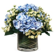 "Check out this item at One Kings Lane! 12"" Hydrangea w/ Lace in Pot, Faux"