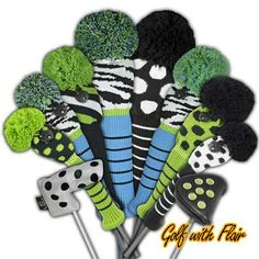 Zebra Stripes & Poka Dot Knitted Golf Club Headcovers - Zebra stripes in black & white w/ lime green and blue accents knit golf club headcover collection. Lime green & black and black & white poka dot accent golf club headcovers and putter covers.