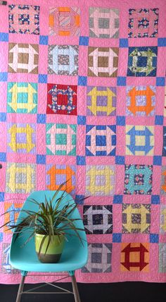 Vintage Geometric Quilt  Bright Colors  Grecian Square by KOLORIZE, $165.00