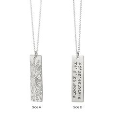 This necklace captures the location of a place that has your heart. The artist handstamps the geographic coordinates for you. :: Latitude Longitude Pendant by UncommonGoods