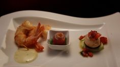 Trio of seafood – potato string prawns, sashimi tuna, scallop And chorizo stack/ Nic and Rocco MKR