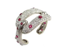 "PLATINUM, DIAMOND AND RUBY ""BUCKLE"" CUFF, BELPERRON"