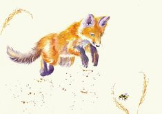 Bee Bouncy.  A young fox cub bounces into action. Probably unwisely...   Debra Hall. GreyPepperArt
