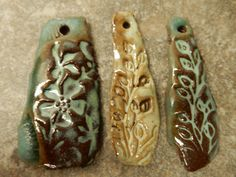 Set of 3 Stoneware pottery rustic pendents  by AtHomeInTaos