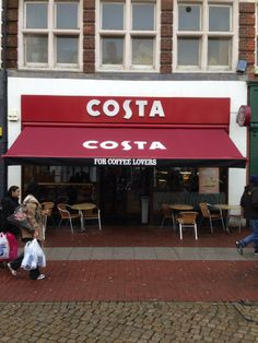 Costa Coffee at Southend has had their awning recovered by Shades of Comfort Ltd! Awning Shade, Awning Canopy, Coffee Restaurants, Store Signage, Costa Coffee, Cafe Branding, Food Places, Store Design, Coffee Shop
