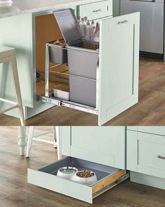 The Pet Feeding Center comes with a pull-out cabinet at the top to hold food, leashes, and toys. A toe-kick drawer at the bottom of the unit is the perfect place to keep the food bowl. Food Storage Cabinet, Pet Food Storage, Diy Kitchen Storage, Storage Cabinets, Kitchen Organization, Storage Area, Storage Drawers, Kitchen Cabinet Remodel, Kitchen Cabinet Design