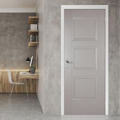 Bespoke Shaker 4 Panel Fire Door - Hour Fire Rated and White Primed - Lifestyle Image. Grey Internal Doors, Grey Doors, Panel Doors, Windows And Doors, Door Design, House Design, Fire Rated Doors, Door Fittings, Door Makeover