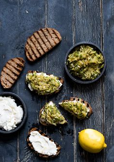 Zucchini Tartines/Toasts with Lemon & Ricotta Recipe: The perfect Summer Appetizer | @whiteonrice